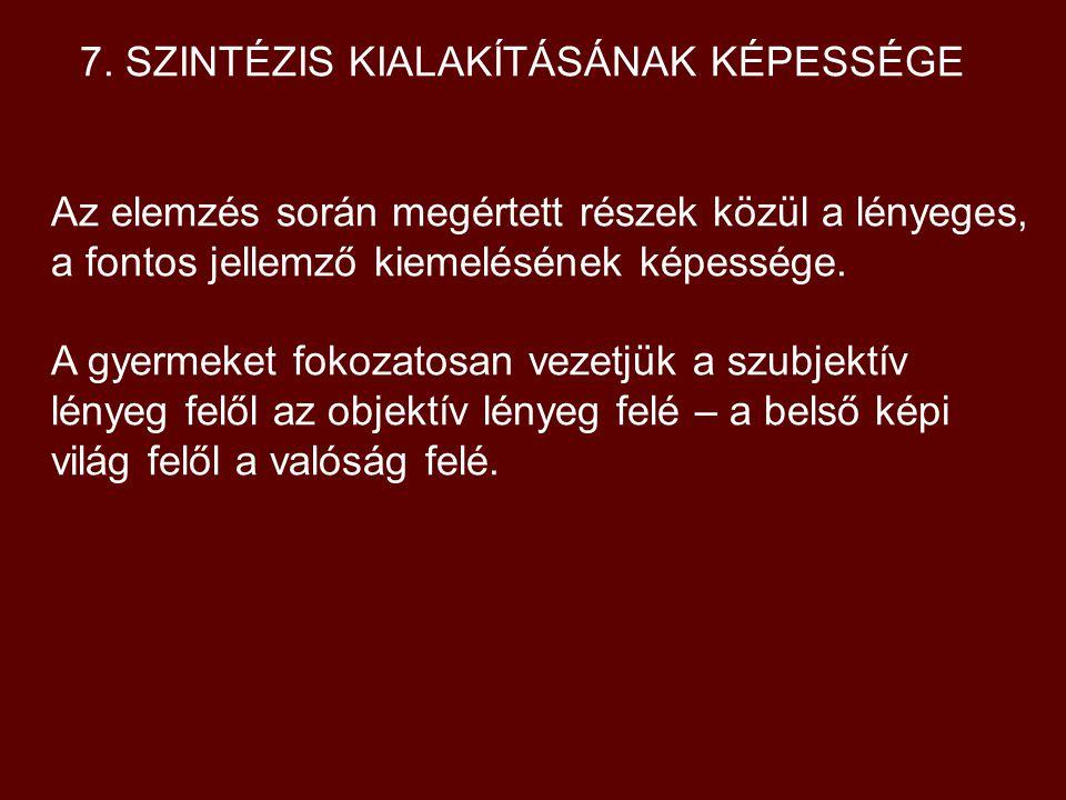 7. SZINTÉZIS KIALAKÍTÁSÁNAK KÉPESSÉGE