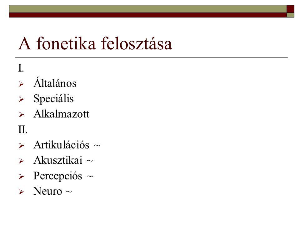 A fonetika felosztása I. Általános Speciális Alkalmazott II.
