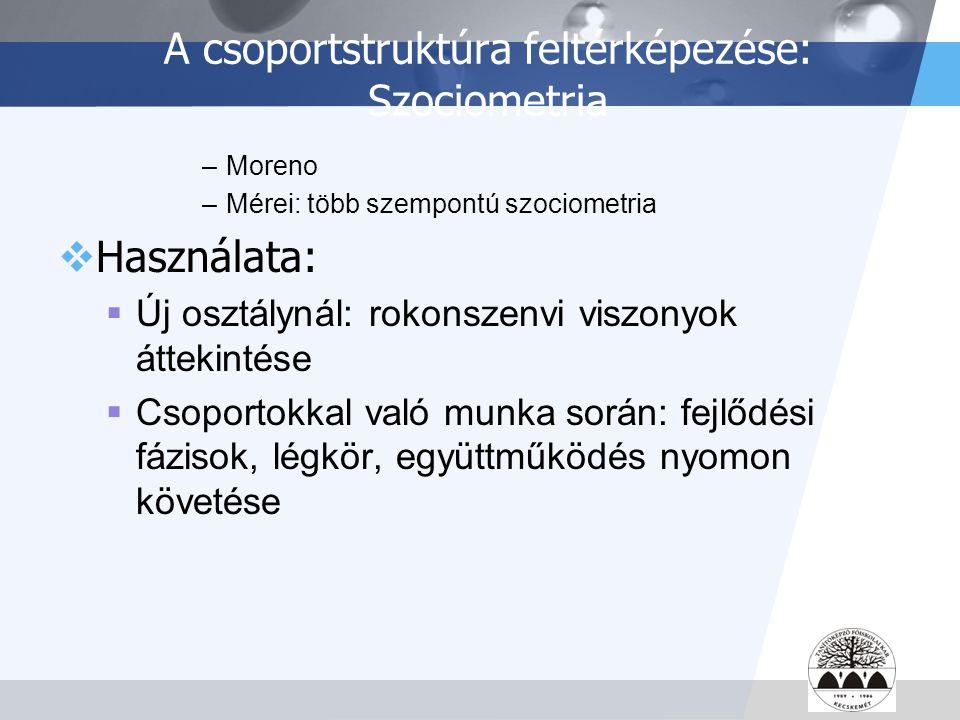 A csoportstruktúra feltérképezése: Szociometria