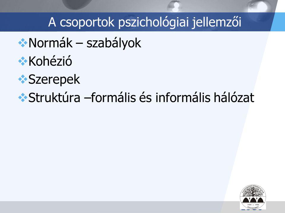 A csoportok pszichológiai jellemzői