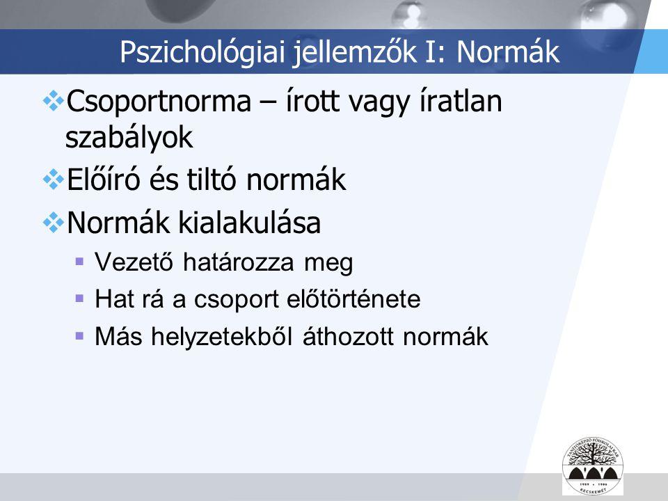 Pszichológiai jellemzők I: Normák