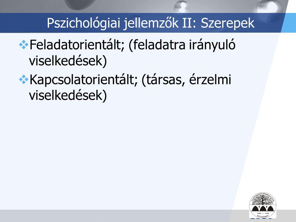 Pszichológiai jellemzők II: Szerepek