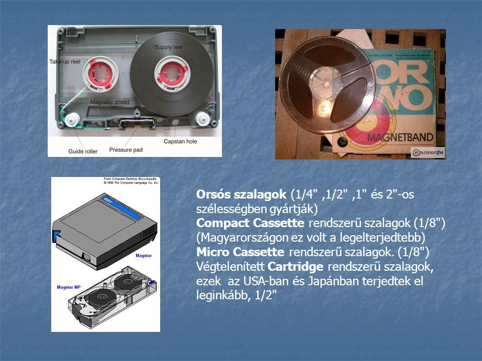 Orsós szalagok (1/4 ,1/2 ,1 és 2 -os szélességben gyártják) Compact Cassette rendszerű szalagok (1/8 ) (Magyarországon ez volt a legelterjedtebb) Micro Cassette rendszerű szalagok.
