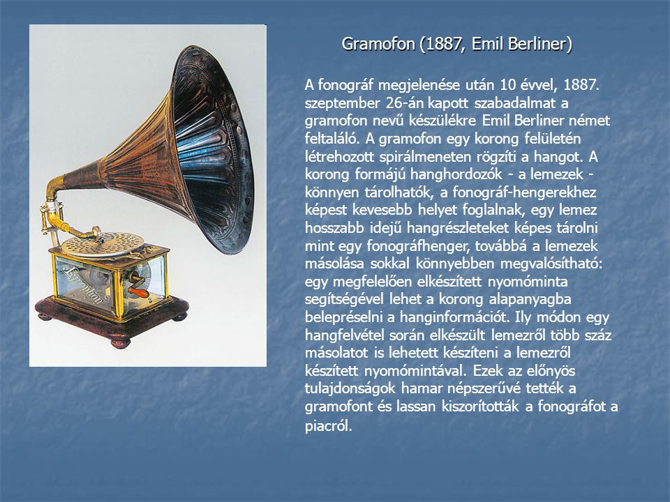 Gramofon (1887, Emil Berliner)