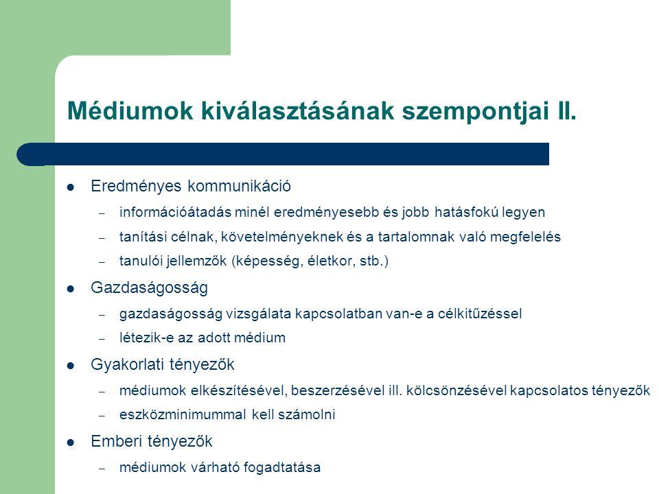 Médiumok kiválasztásának szempontjai II.