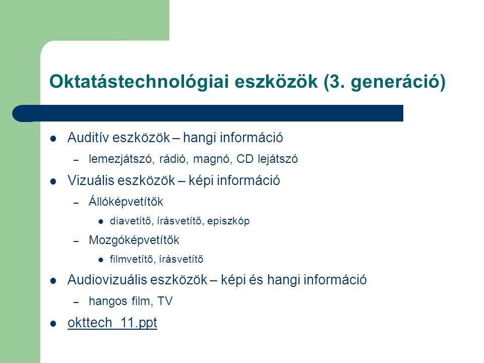 Oktatástechnológiai eszközök (3. generáció)