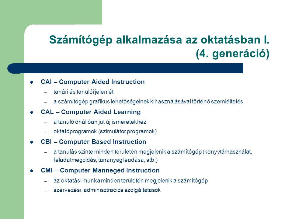 Számítógép alkalmazása az oktatásban I. (4. generáció)