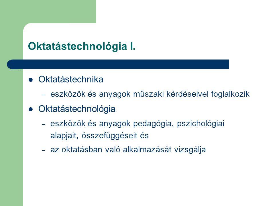 Oktatástechnológia I. Oktatástechnika Oktatástechnológia
