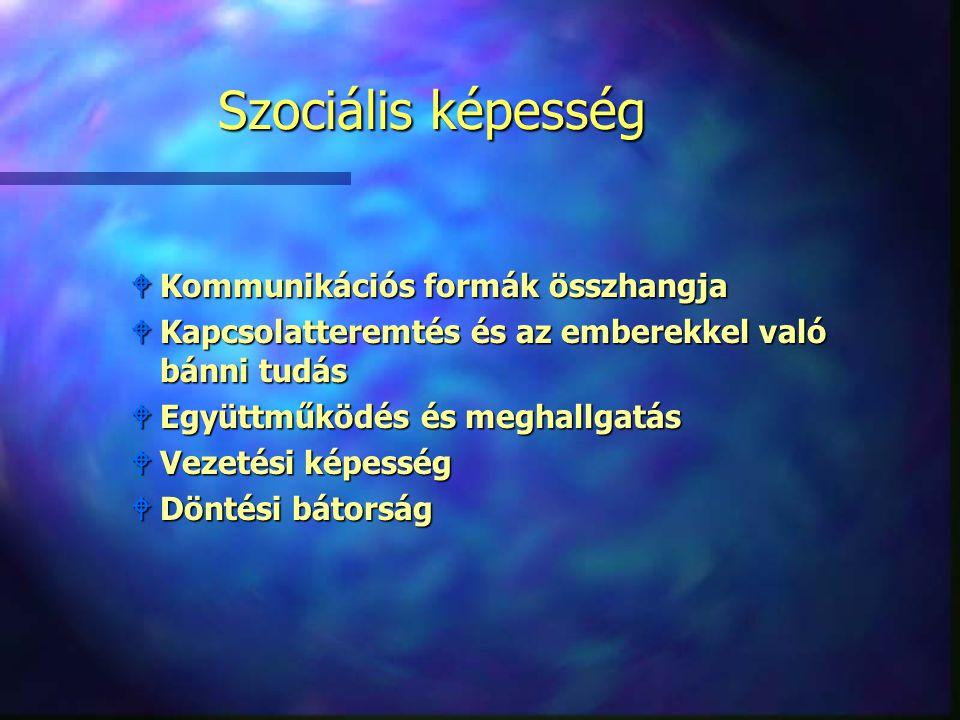 Szociális képesség Kommunikációs formák összhangja