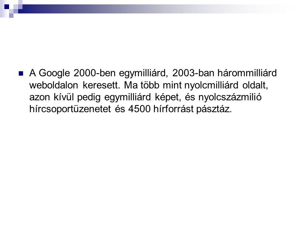 A Google 2000-ben egymilliárd, 2003-ban hárommilliárd weboldalon keresett.