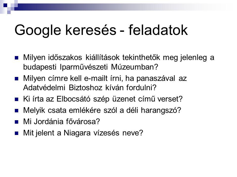 Google keresés - feladatok