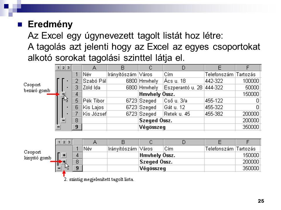 Eredmény Az Excel egy úgynevezett tagolt listát hoz létre: A tagolás azt jelenti hogy az Excel az egyes csoportokat alkotó sorokat tagolási szinttel látja el.