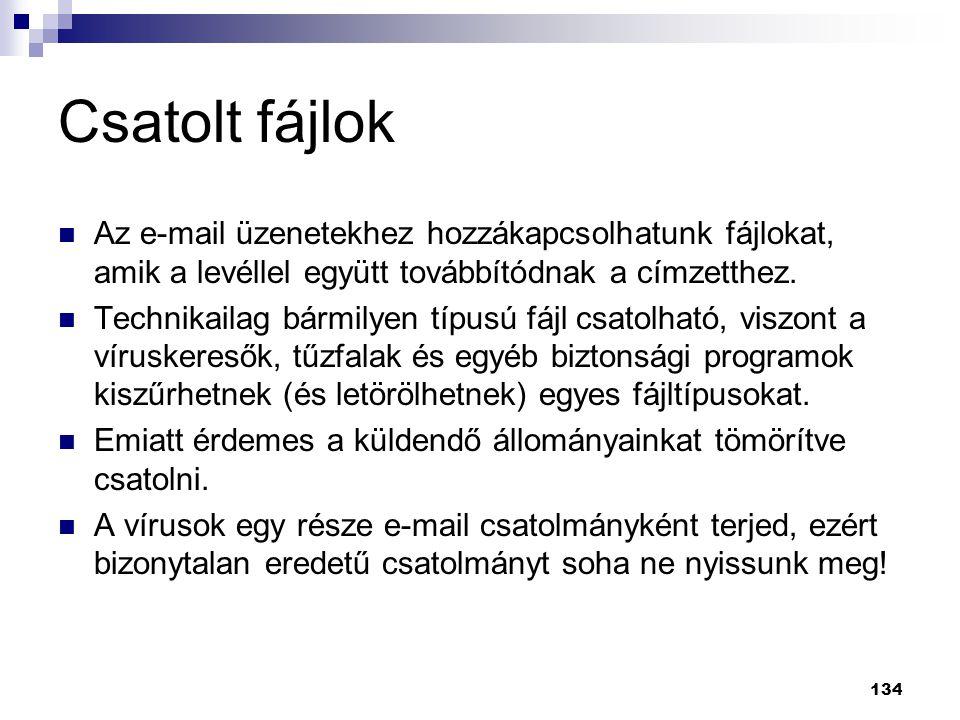 Csatolt fájlok Az e-mail üzenetekhez hozzákapcsolhatunk fájlokat, amik a levéllel együtt továbbítódnak a címzetthez.