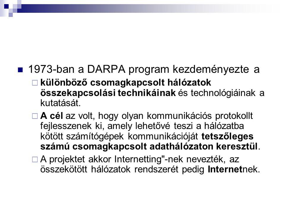 1973-ban a DARPA program kezdeményezte a