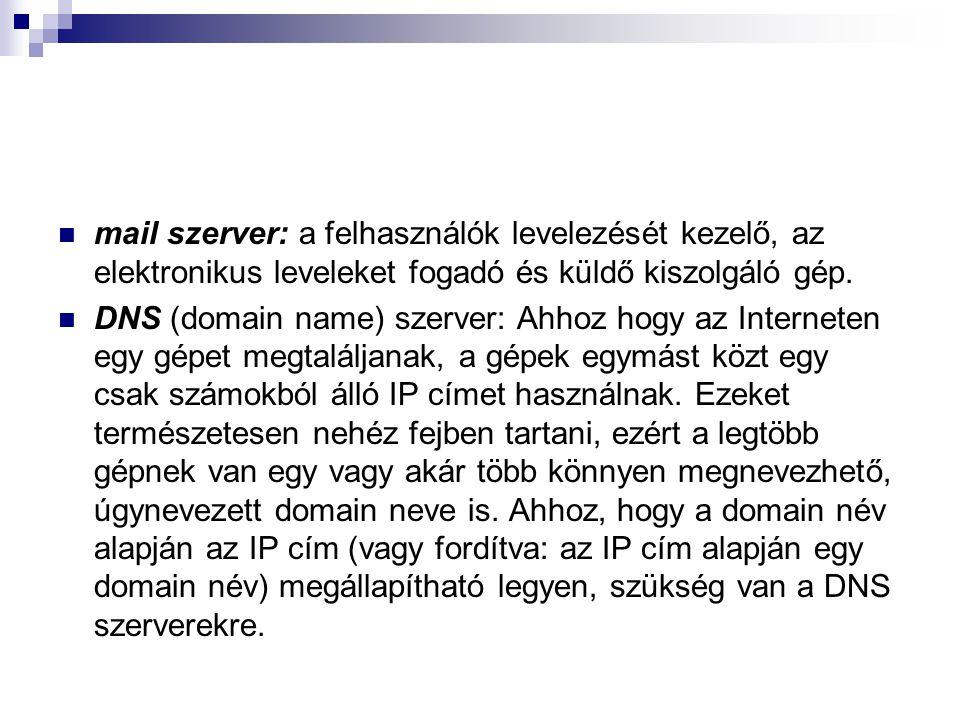 mail szerver: a felhasználók levelezését kezelő, az elektronikus leveleket fogadó és küldő kiszolgáló gép.