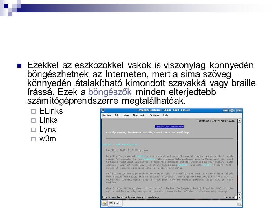 Ezekkel az eszközökkel vakok is viszonylag könnyedén böngészhetnek az Interneten, mert a sima szöveg könnyedén átalakítható kimondott szavakká vagy braille írássá. Ezek a böngészők minden elterjedtebb számítógéprendszerre megtalálhatóak.