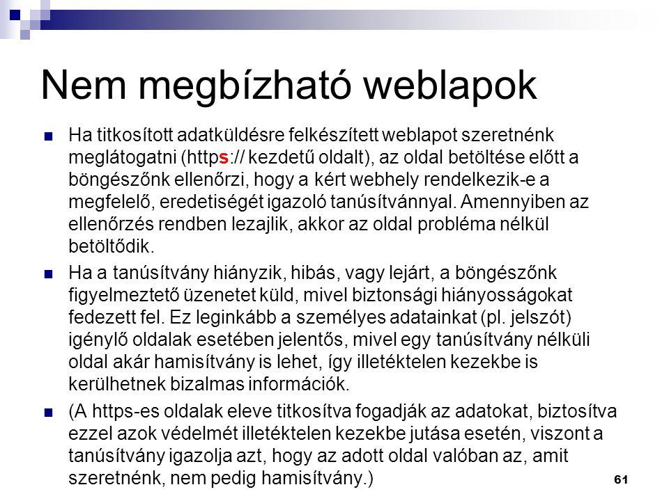 Nem megbízható weblapok