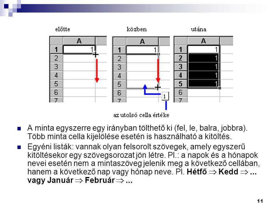 A minta egyszerre egy irányban tölthető ki (fel, le, balra, jobbra)