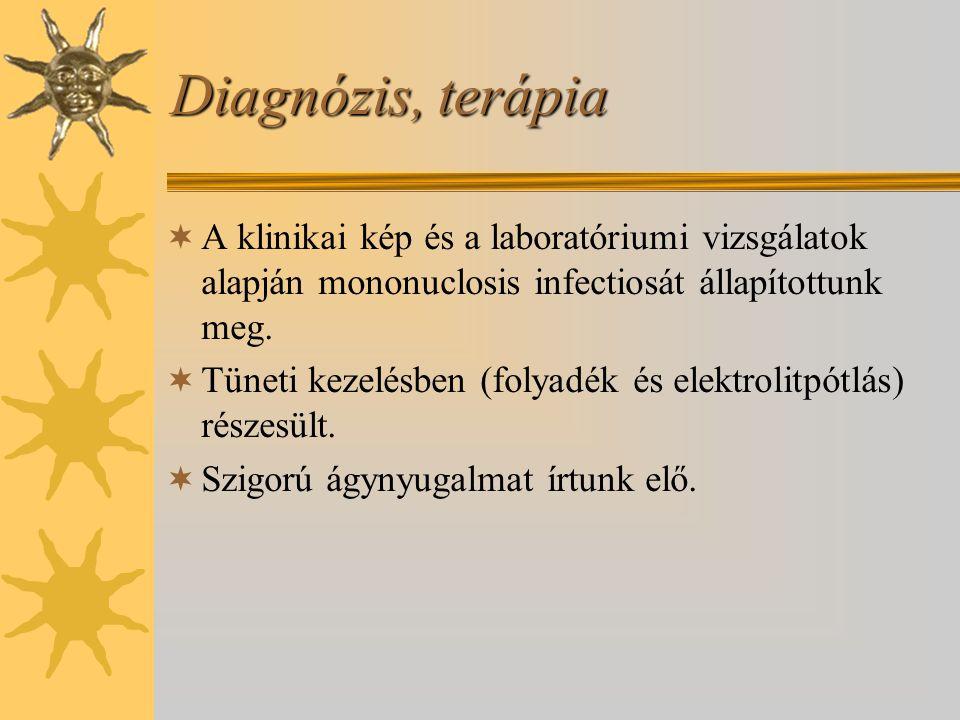 Diagnózis, terápia A klinikai kép és a laboratóriumi vizsgálatok alapján mononuclosis infectiosát állapítottunk meg.