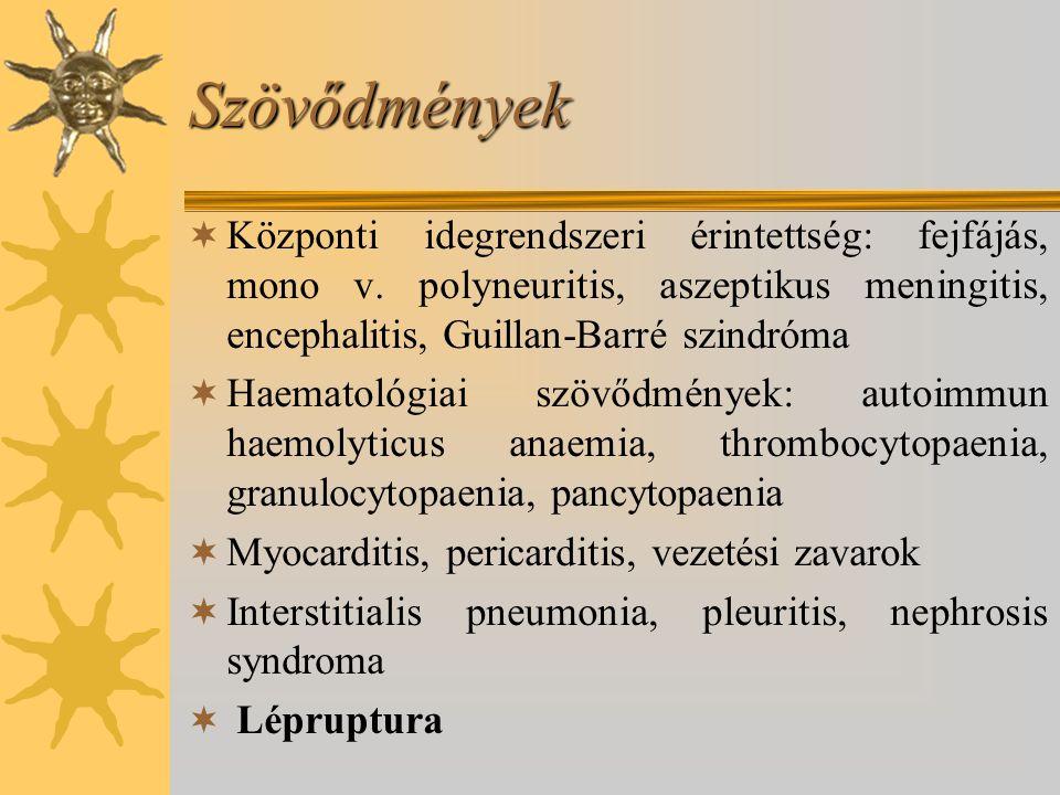 Szövődmények Központi idegrendszeri érintettség: fejfájás, mono v. polyneuritis, aszeptikus meningitis, encephalitis, Guillan-Barré szindróma.