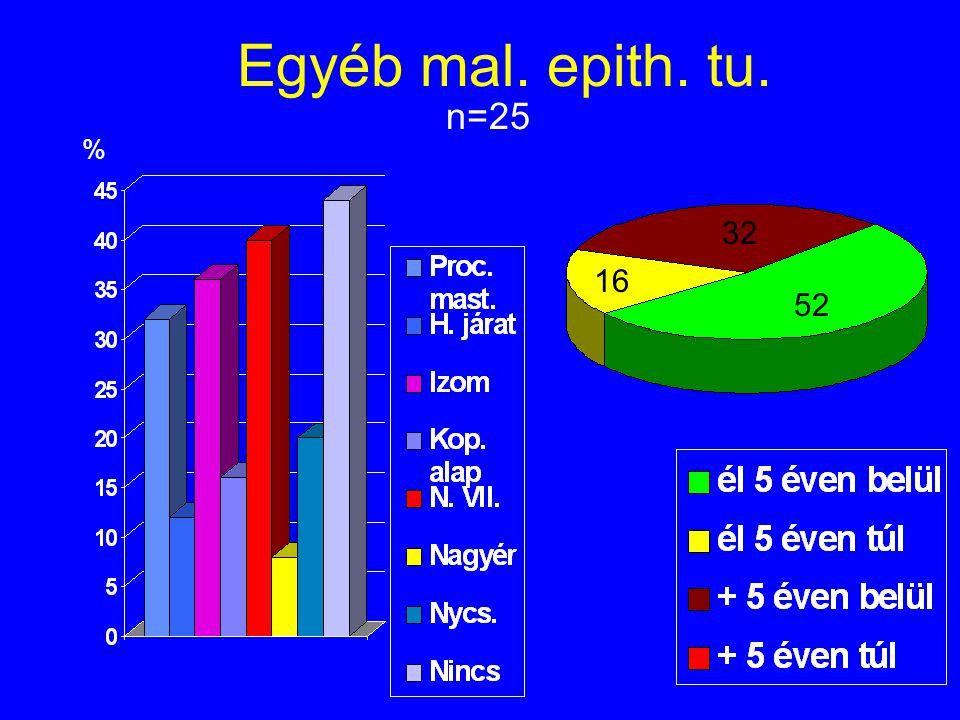 Egyéb mal. epith. tu. n=25 % 32 16 52