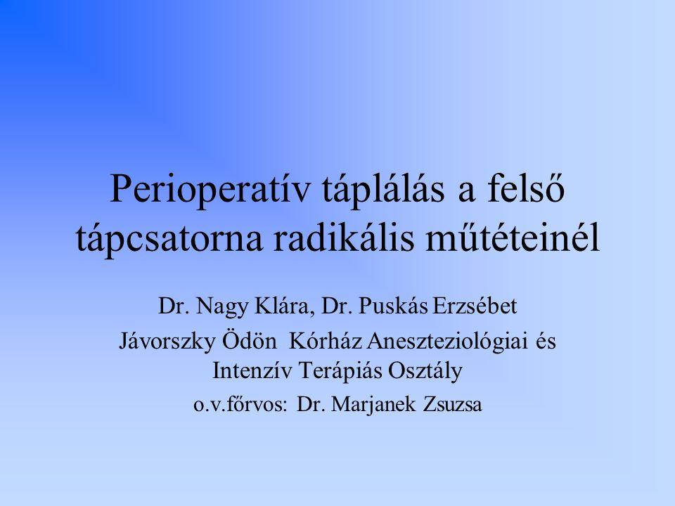 Perioperatív táplálás a felső tápcsatorna radikális műtéteinél