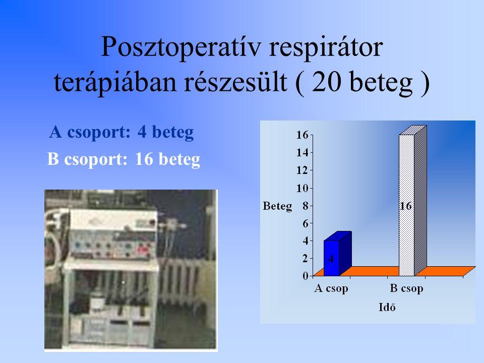 Posztoperatív respirátor terápiában részesült ( 20 beteg )