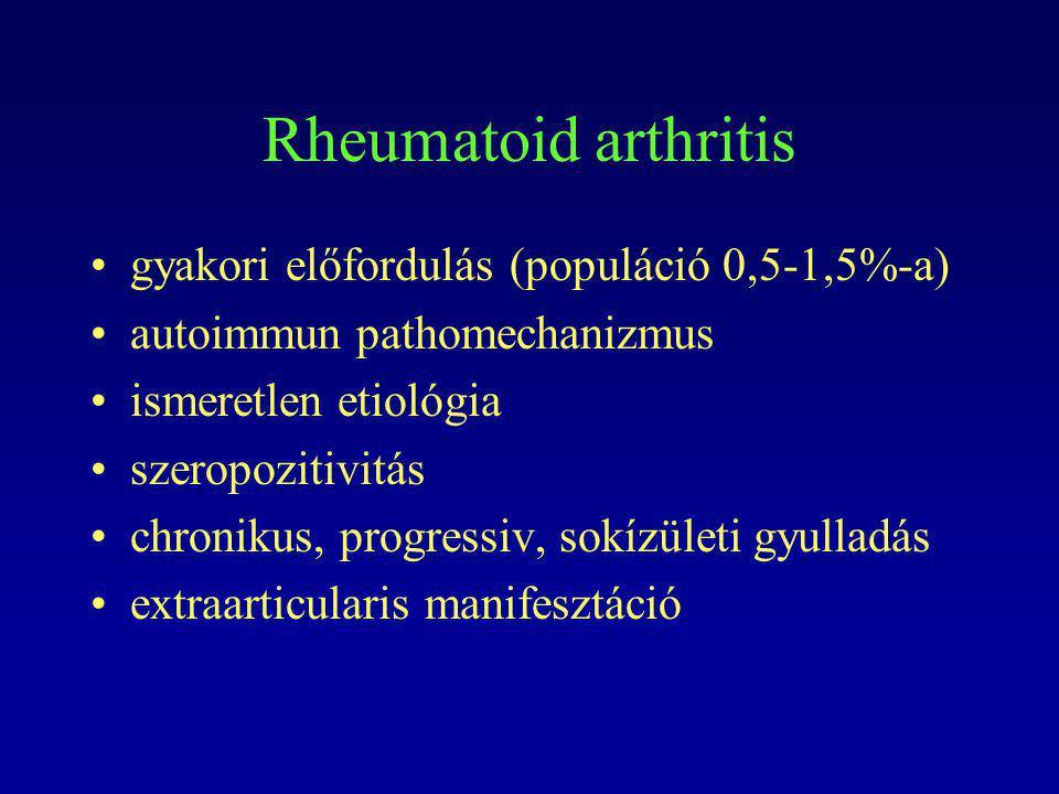 Rheumatoid arthritis gyakori előfordulás (populáció 0,5-1,5%-a)