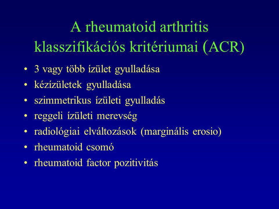 A rheumatoid arthritis klasszifikációs kritériumai (ACR)