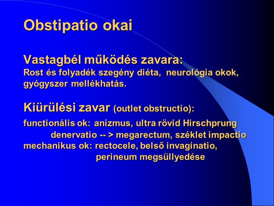 Obstipatio okai Vastagbél működés zavara: Rost és folyadék szegény diéta, neurológia okok, gyógyszer mellékhatás.