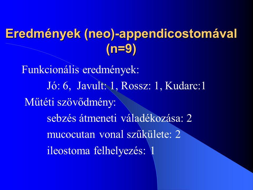 Eredmények (neo)-appendicostomával (n=9)