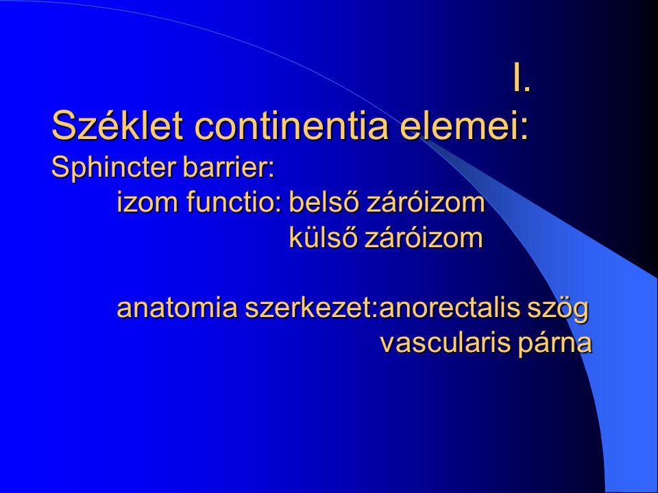 I. Széklet continentia elemei: Sphincter barrier: