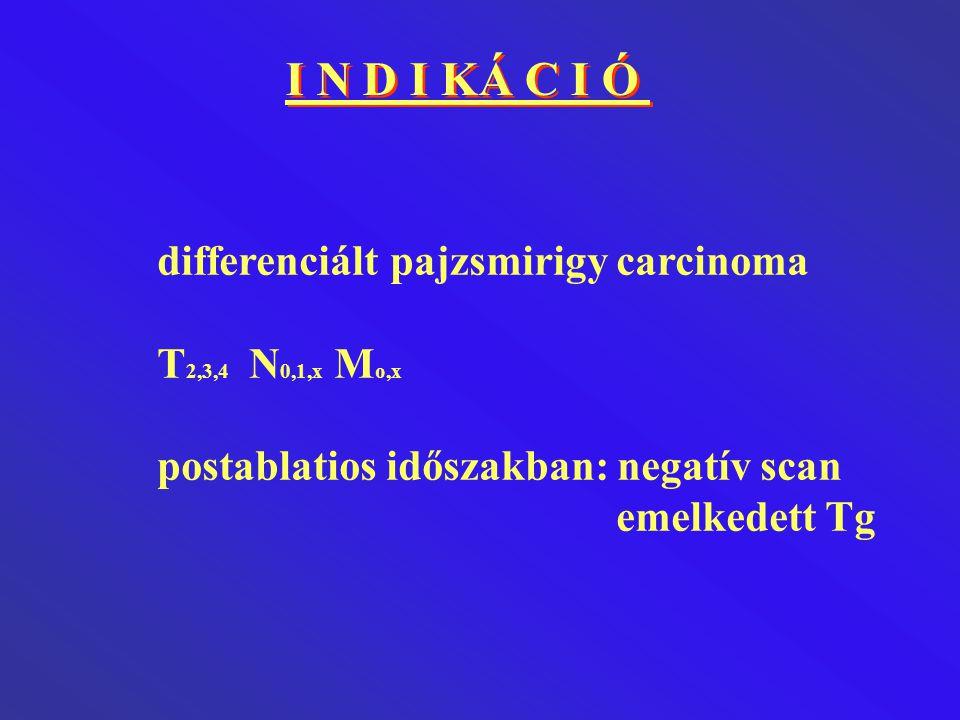 I N D I KÁ C I Ó differenciált pajzsmirigy carcinoma