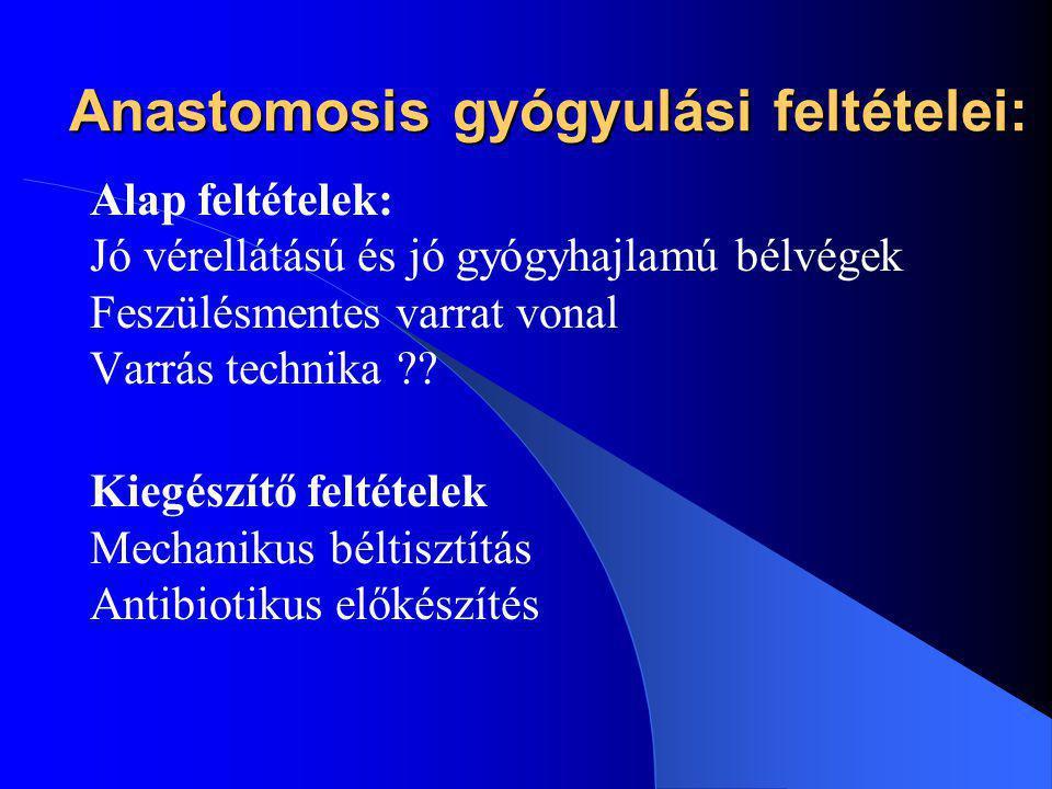 Anastomosis gyógyulási feltételei: