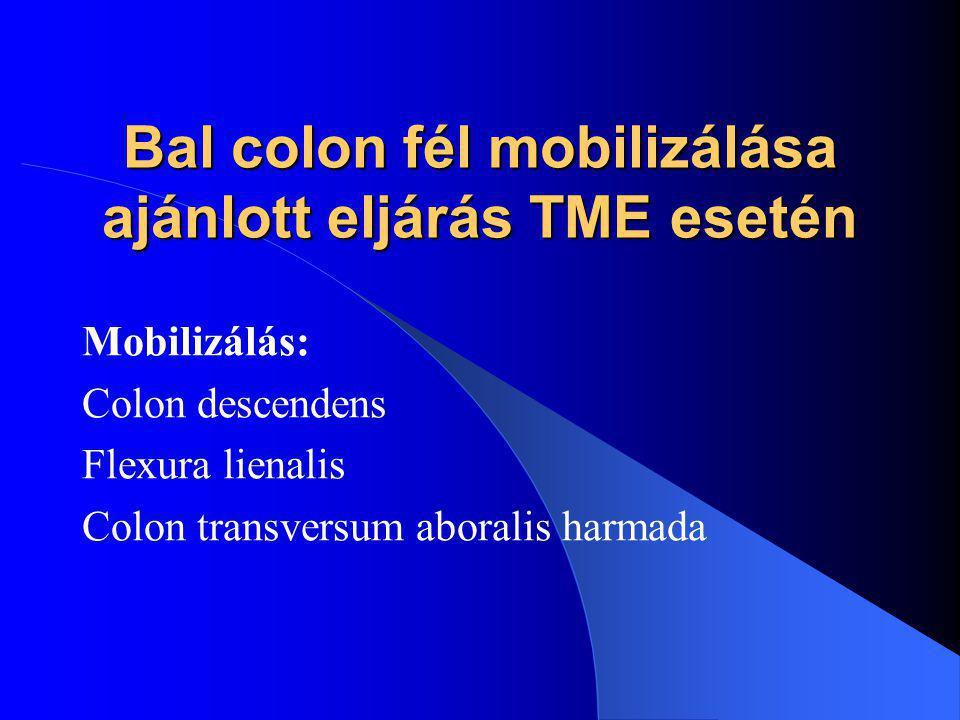 Bal colon fél mobilizálása ajánlott eljárás TME esetén