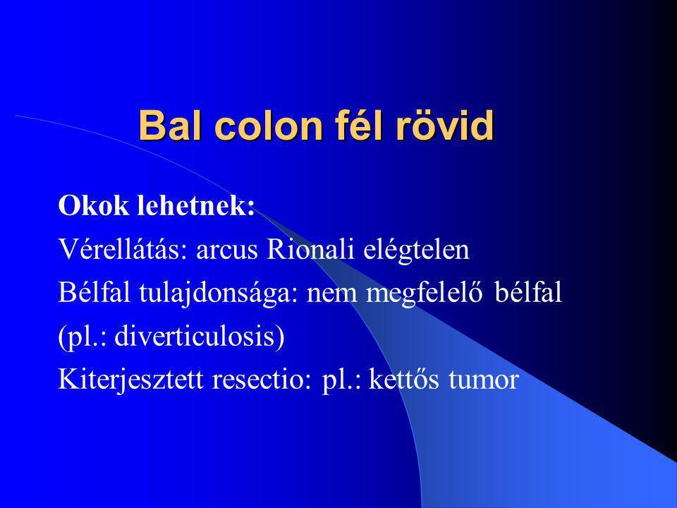 Bal colon fél rövid Okok lehetnek: Vérellátás: arcus Rionali elégtelen