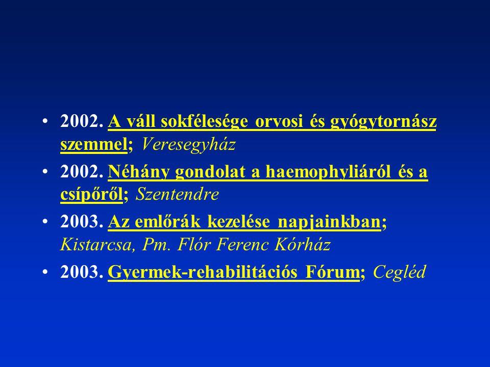 2002. A váll sokfélesége orvosi és gyógytornász szemmel; Veresegyház