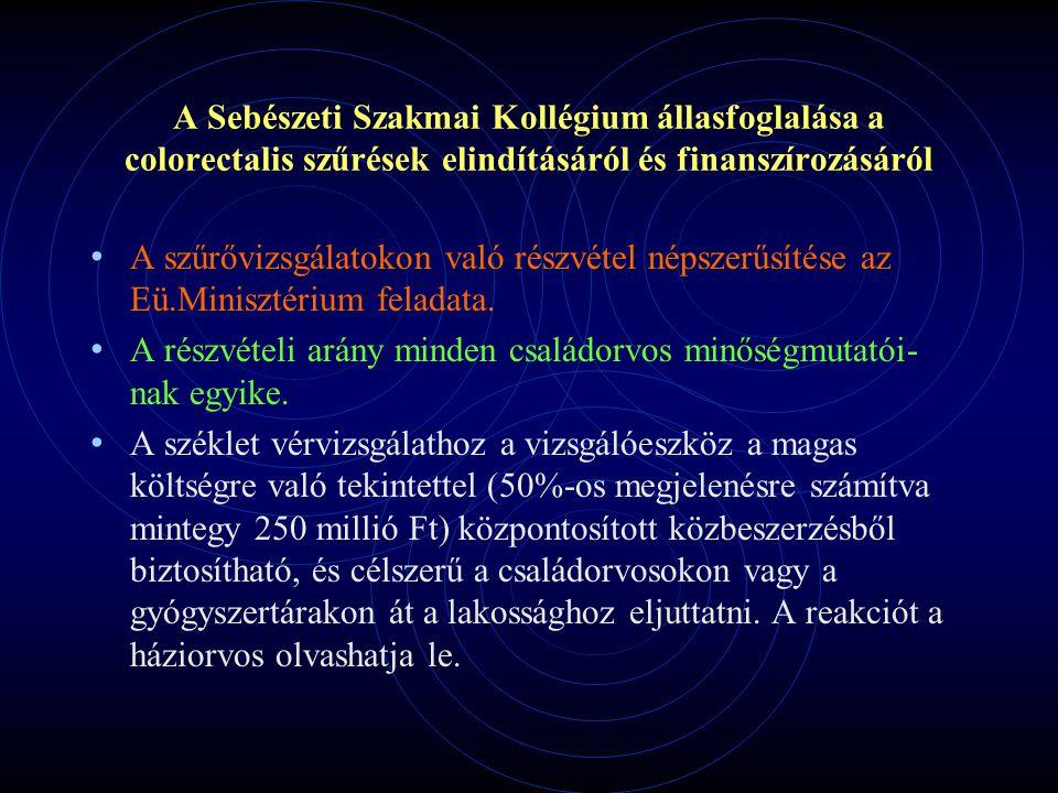 A Sebészeti Szakmai Kollégium állasfoglalása a colorectalis szűrések elindításáról és finanszírozásáról