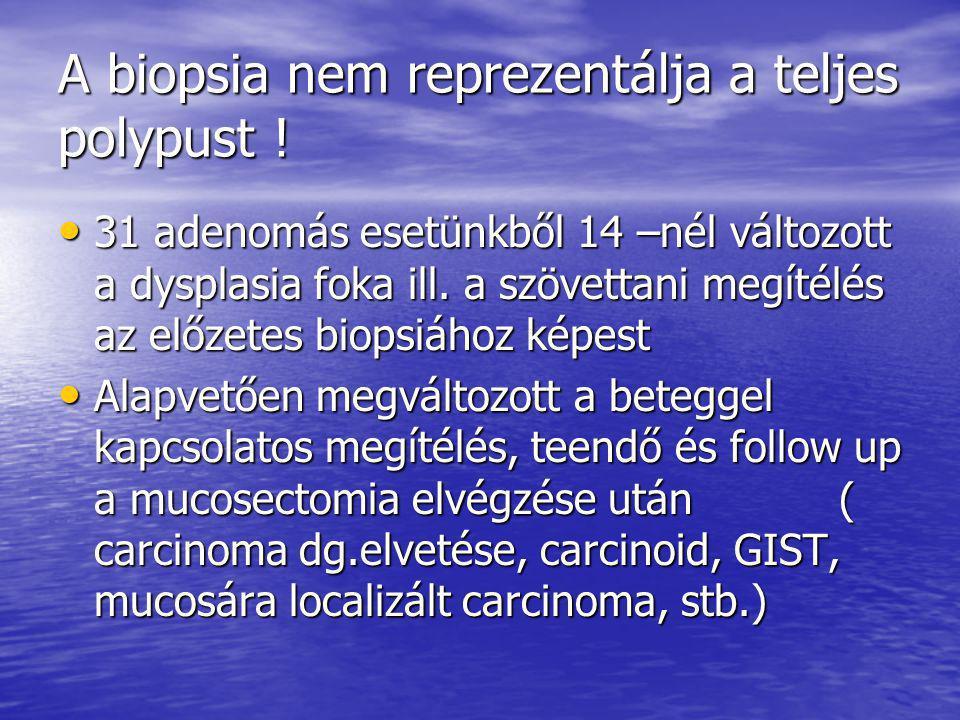 A biopsia nem reprezentálja a teljes polypust !