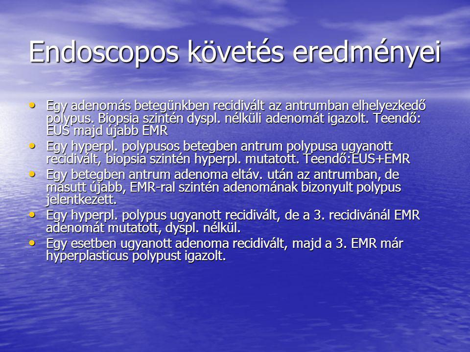 Endoscopos követés eredményei