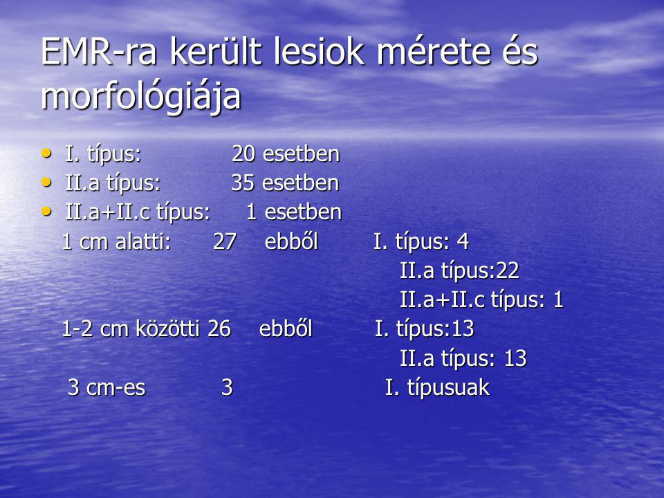 EMR-ra került lesiok mérete és morfológiája