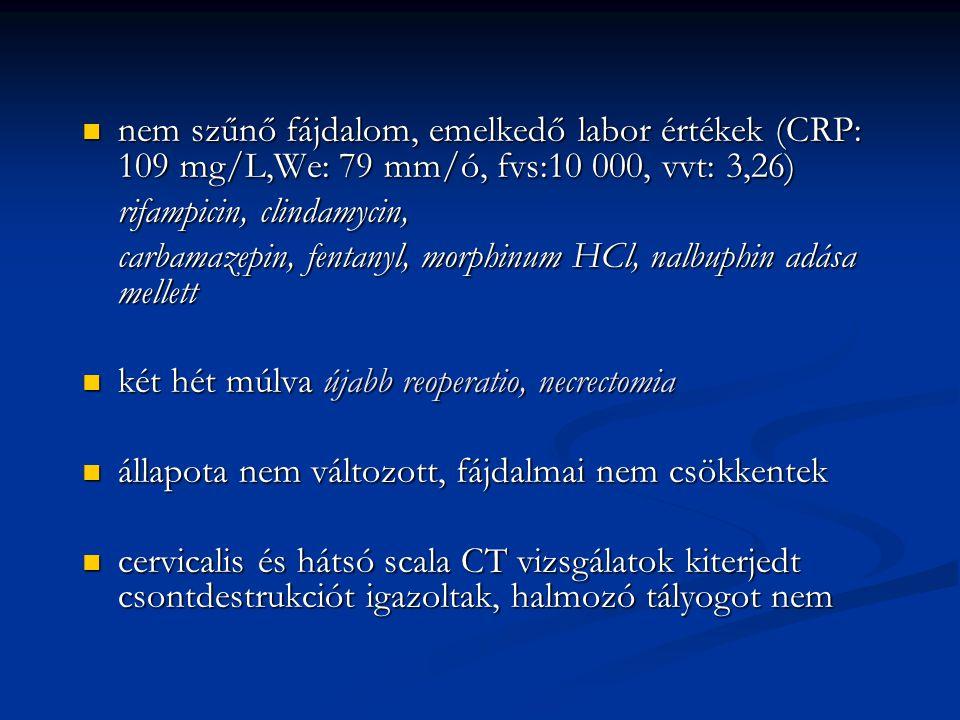 nem szűnő fájdalom, emelkedő labor értékek (CRP: 109 mg/L,We: 79 mm/ó, fvs:10 000, vvt: 3,26)