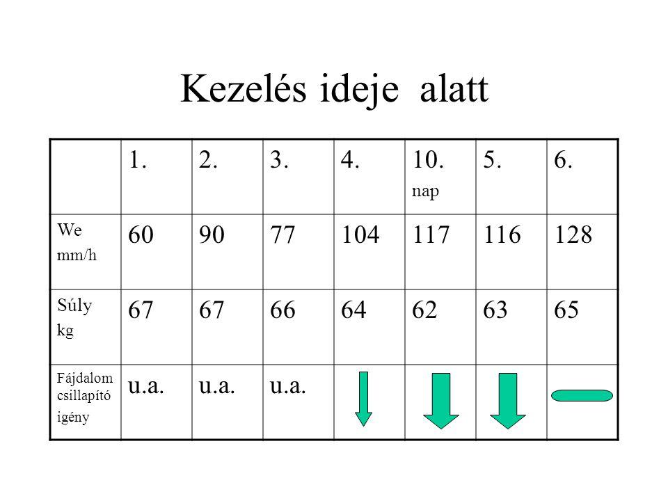 Kezelés ideje alatt 1. 2. 3. 4. 10. nap. 5. 6. We. mm/h. 60. 90. 77. 104. 117. 116.