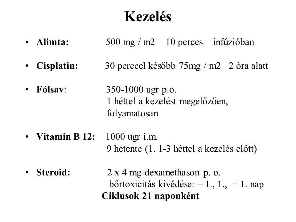 Kezelés Alimta: 500 mg / m2 10 perces infúzióban