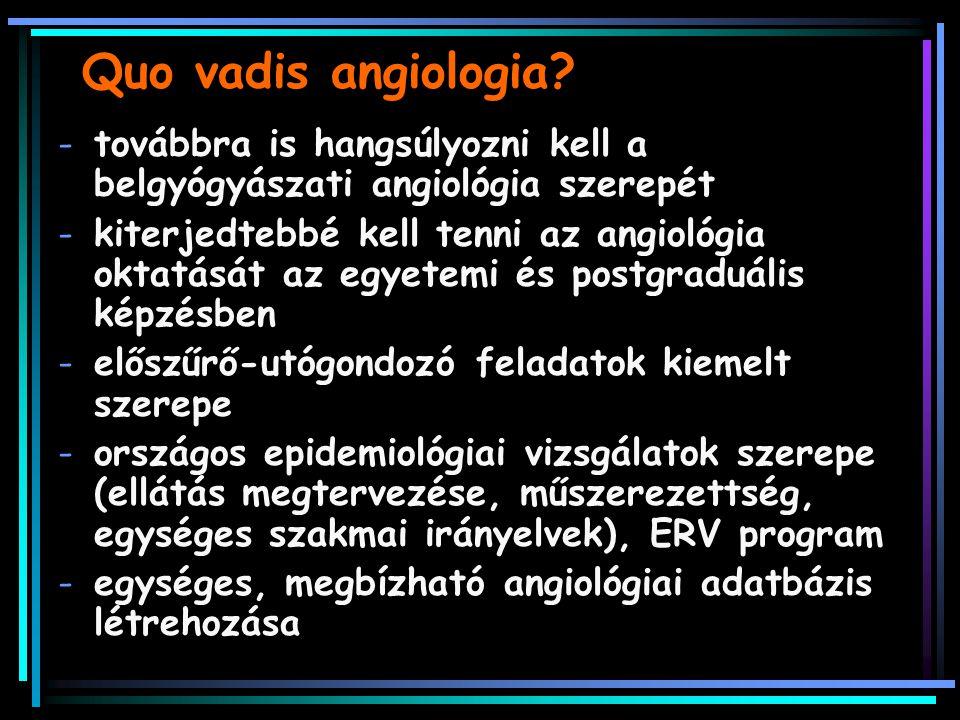 Quo vadis angiologia továbbra is hangsúlyozni kell a belgyógyászati angiológia szerepét.