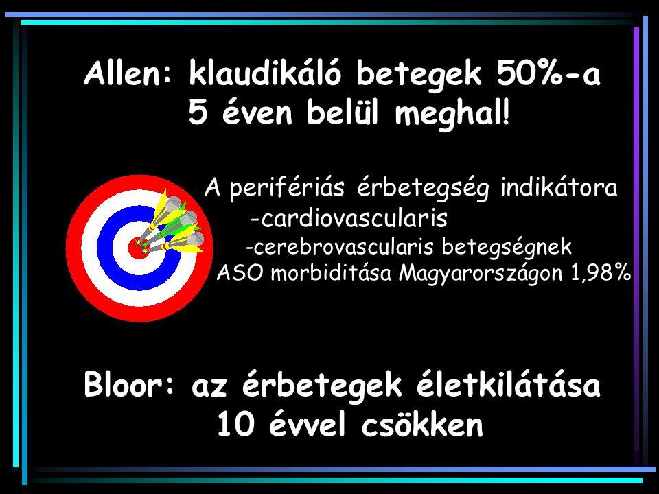 Allen: klaudikáló betegek 50%-a Bloor: az érbetegek életkilátása