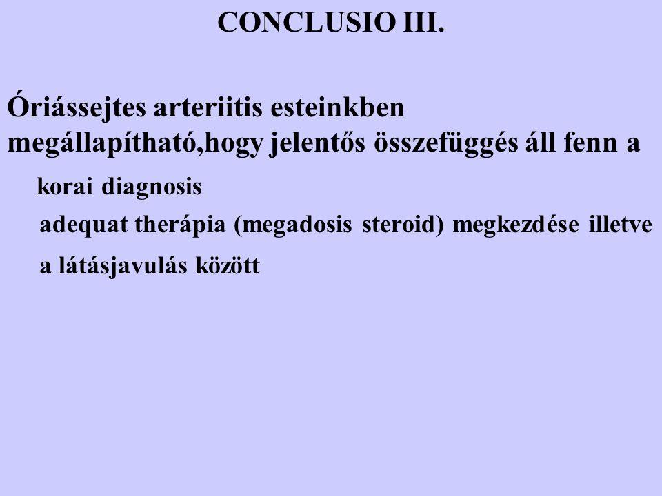 CONCLUSIO III. Óriássejtes arteriitis esteinkben megállapítható,hogy jelentős összefüggés áll fenn a.