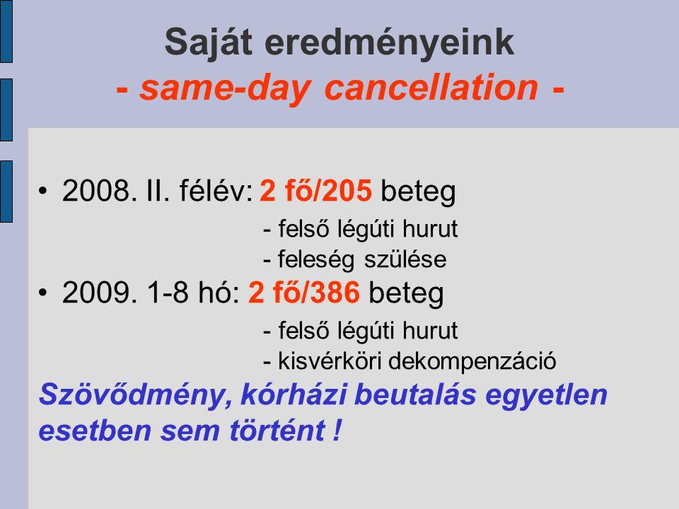 Saját eredményeink - same-day cancellation -