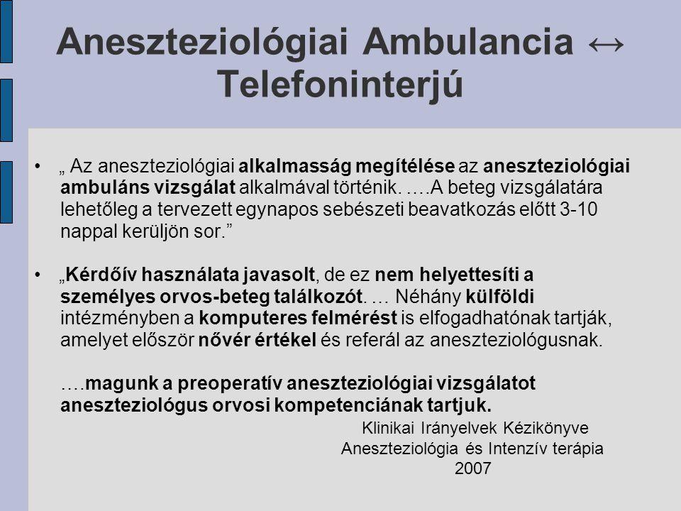 Aneszteziológiai Ambulancia ↔ Telefoninterjú