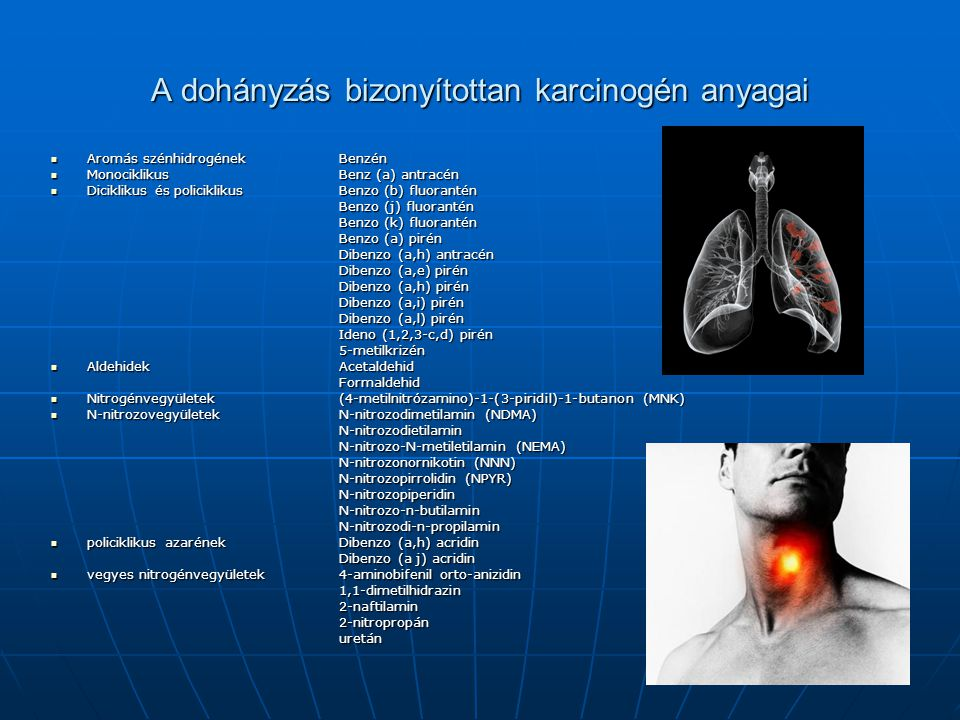 A dohányzás bizonyítottan karcinogén anyagai